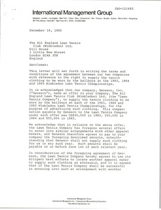 Thumbnail of Letter from Genesco, Inc. to All England Lawn Tennis Club