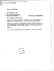 Thumbnail of Fax from John Webber to Mark H. McCormack