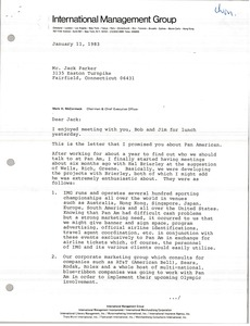 Thumbnail of Letter from Mark H. McCormack to Jack Parker