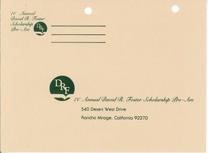 Thumbnail of David R. Foster Scholarship Pro-Amateur reply envelope