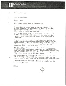 Thumbnail of Memorandum from Barry Frank to Mark H. McCormack
