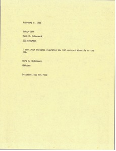 Thumbnail of Memorandum from Mark H. McCormack to Betsy Goff