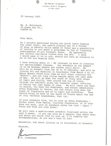 Thumbnail of Letter from Ken Lieberman to Mark H. McCormack