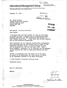 Thumbnail of Letter from Mark H. McCormack to Bryan Cowgill