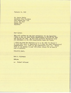 Thumbnail of Letter from Mark H. McCormack to Lynotn Taylor