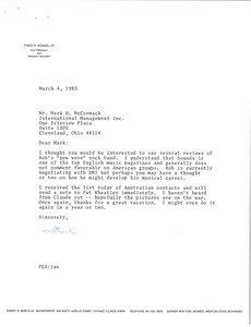 Thumbnail of Letter from Fred E. Adams to Mark H. McCormack