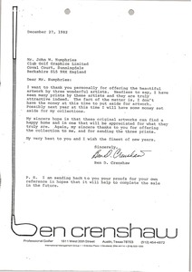 Thumbnail of Letter from Ben D. Crenshaw to John W. Humphries