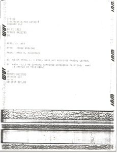 Thumbnail of Telex prinotut from Mark H. McCormack to James Erskine
