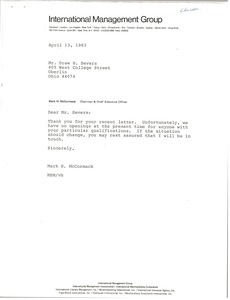 Thumbnail of Letter from Mark H. McCormack to Drew H. Severs