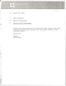 Thumbnail of Memorandum from Mark H. McCormack to Mike Halstead