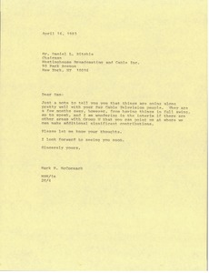 Thumbnail of Letter from Mark H. McCormack to Daniel L. Ritchie