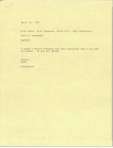 Thumbnail of Memorandum from Mark H. McCormack to Dick Moore, Rick Isaacson, David Hill, Saul         Schoenberg
