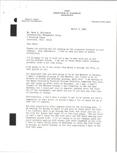 Thumbnail of Letter from Ed Artzt to Mark H. McCormack