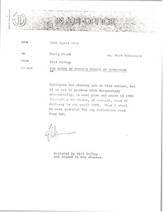 Thumbnail of Memorandum from Phil Pilley to Barry Frank