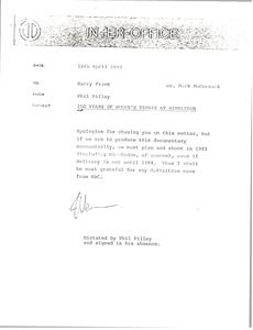 Memorandum from Phil Pilley to Barry Frank