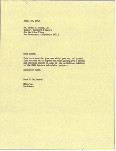 Thumbnail of Letter from Mark H. McCormack to Frank D. Tatum
