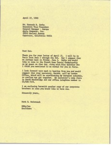 Thumbnail of Letter from Mark H. McCormack to Kenneth R. Zerbe