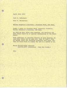 Memorandum from Rita M. Shackleton to Mark H. McCormack