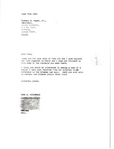 Thumbnail of Letter from Mark H. McCormack to Russell W. Meyer