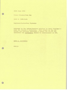 Thumbnail of Memorandum from Mark H. McCormack to Peter Johnson and John Nay