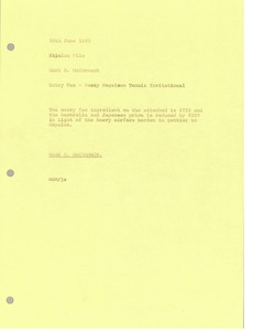 Thumbnail of Memorandum from Mark H. McCormack to Kapalua file