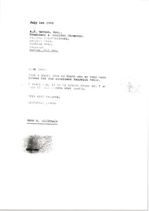 Thumbnail of Letter from Mark H. McCormack to A. J. McCann