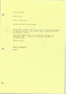 Thumbnail of Memorandum from Mark H. McCormack to Roddy Carr