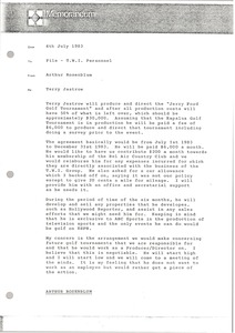 Thumbnail of Memorandum from Arthur Rosenblum to Trans World International personnel file