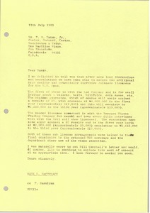Thumbnail of Letter from Mark H. McCormack to F. D. Tatum