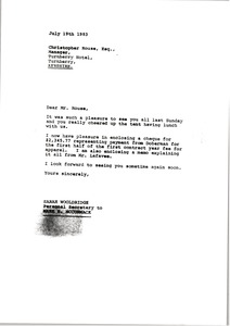 Thumbnail of Letter from Sarah Wooldridge to Christopher Rouse