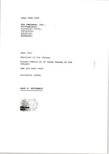 Thumbnail of Letter from Mark H. McCormack to Bob Jamieson