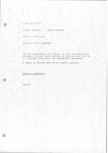 Thumbnail of Memorandum from Mark H. McCormack to Hughes Norton and Dusty Murdoch
