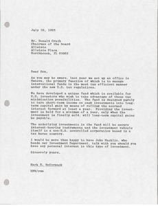 Thumbnail of Letter from Mark H. McCormack to Donald Craib