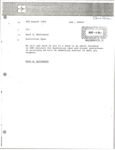 Thumbnail of Memorandum from Mark H. McCormack to Uji