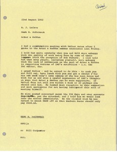 Thumbnail of Memorandum from Mark H. McCormack to A. J. Lafave