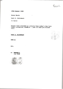 Thumbnail of Memorandum from Mark H. McCormack to Peter Worth