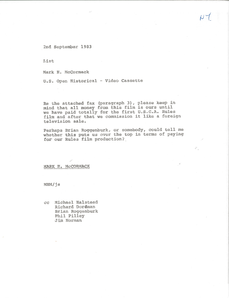 Memorandum from Mark H. McCormack to list