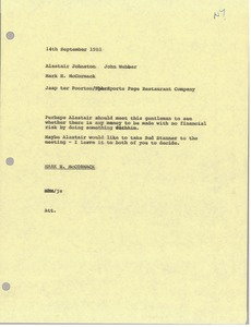 Thumbnail of Memorandum from Mark H. McCormack to Alastair Johnston and John Webber