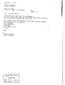 Thumbnail of Telex printout from Tony Kobayashi to Mark H. McCormack