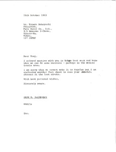 Thumbnail of Letter from Mark H. McCormack to Yotaro Kobayashi