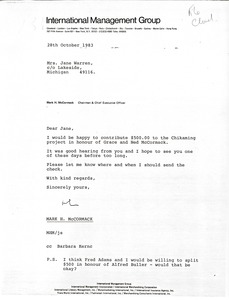 Thumbnail of Letter from Mark H. McCormack to Jane Warren