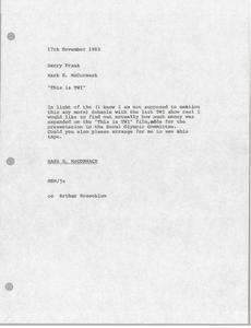 Memorandum from Mark H. McCormack to Barry Frank