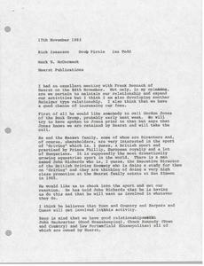 Memorandum from Mark H. McCormack to Rick Isaacson, Doug Pirnie and Ian Todd