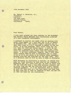 Thumbnail of Letter from Mark H. McCormack to Hunter L. Delatour