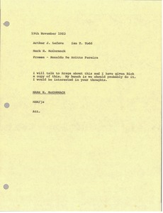 Thumbnail of Memorandum from Mark H. McCormack to Arthur J. Lafave and Ian Todd