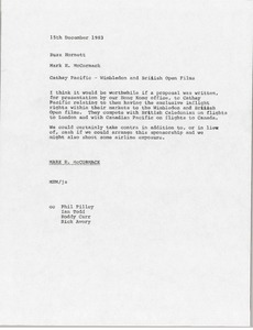 Thumbnail of Memorandum from Mark H. McCormack to Buzz Hornett