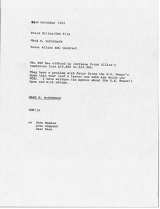 Thumbnail of Memorandum from Mark H. McCormack to Peter Alliss British Broadcasting             Corporation file