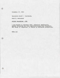 Thumbnail of Memorandum from Mark H. McCormack to executive staff worldwide
