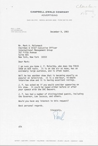 Thumbnail of Letter from Paul L. John to Mark H. McCormack