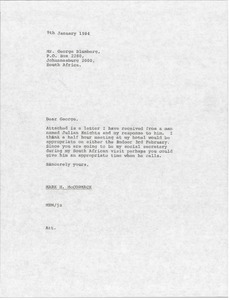 Thumbnail of Letter from Mark H. McCormack to George Blumberg